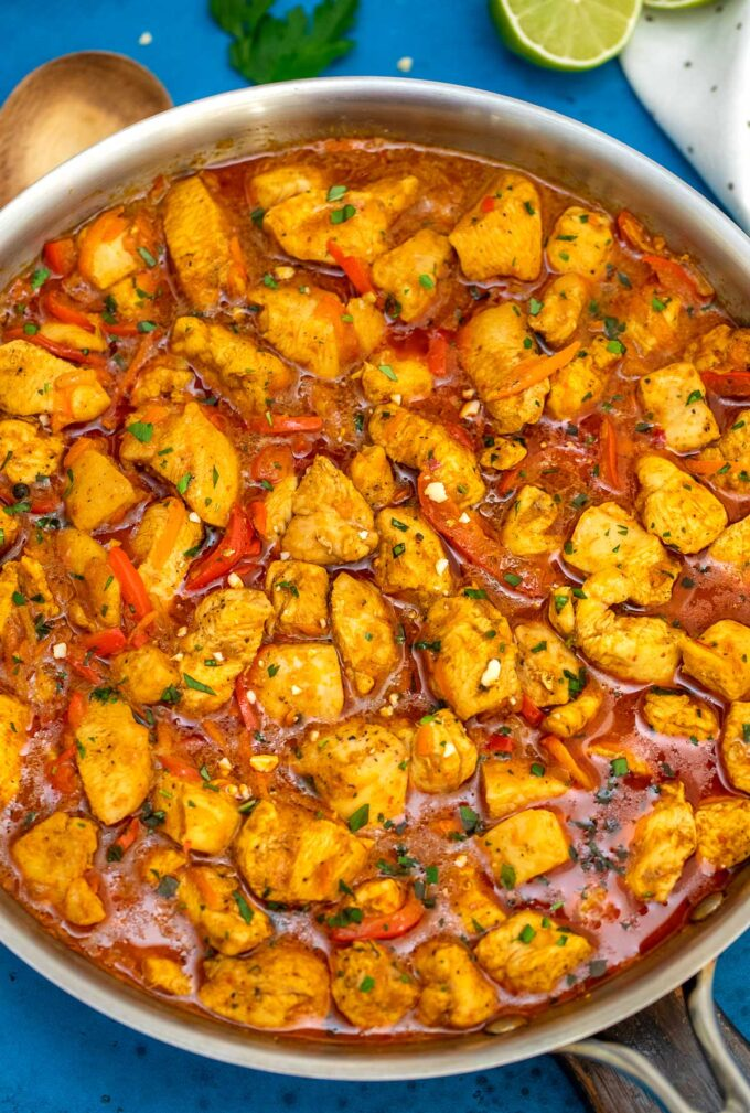 image of coconut curry chicken recipe in pan
