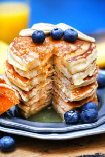 photo of sliced greek yogurt pancakes