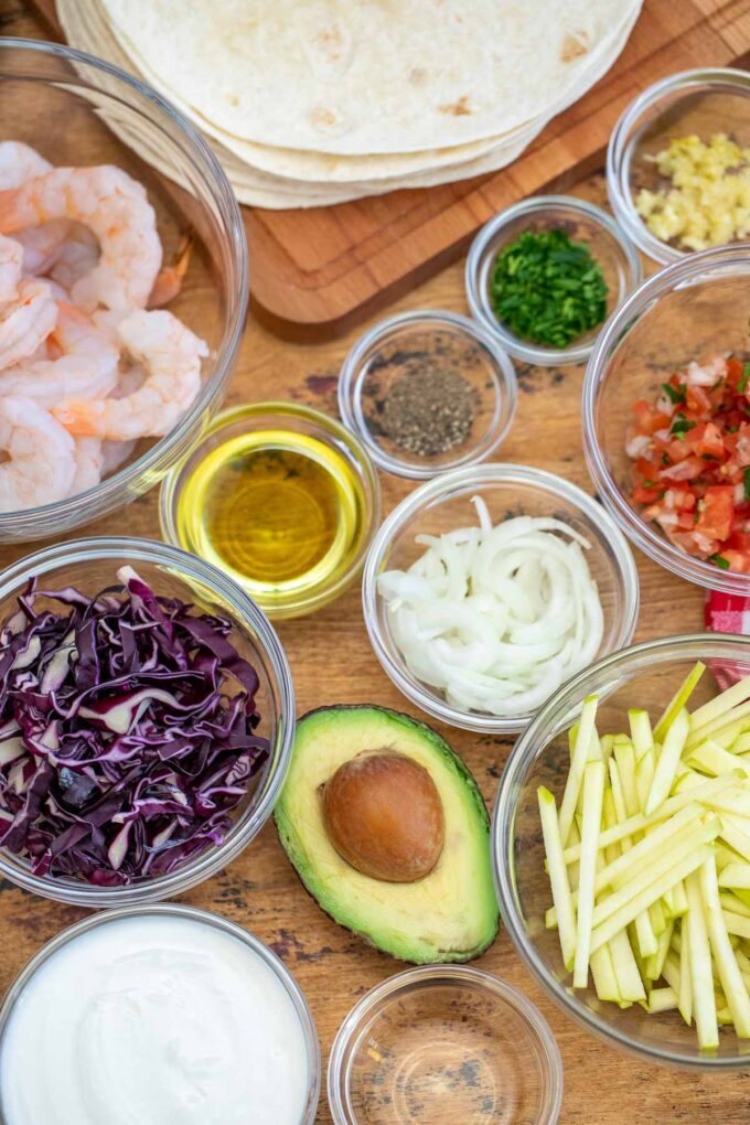 image of ingredients for grilled shrimp tacos