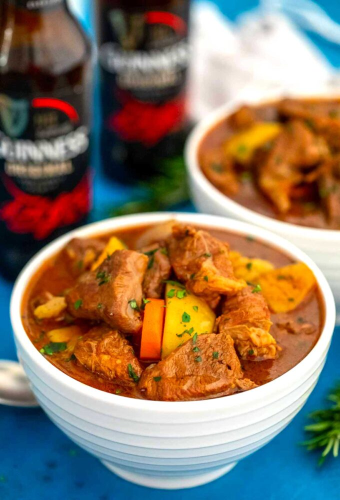 Guinness beef stew in a bowl