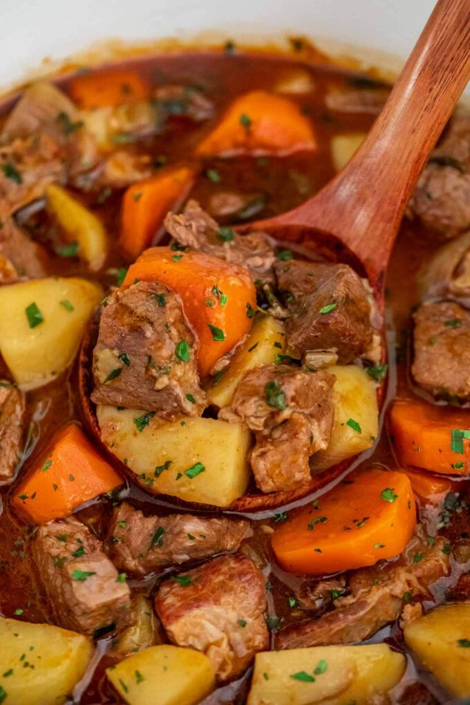 photo of guinness beef stew recipe close