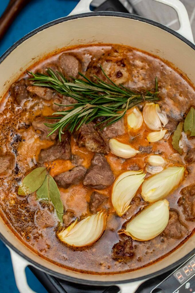 photo of guinness beef stew simmering