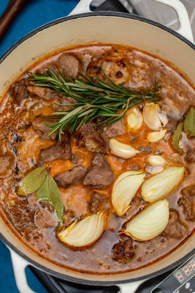 Irish Guinness beef stew simmering