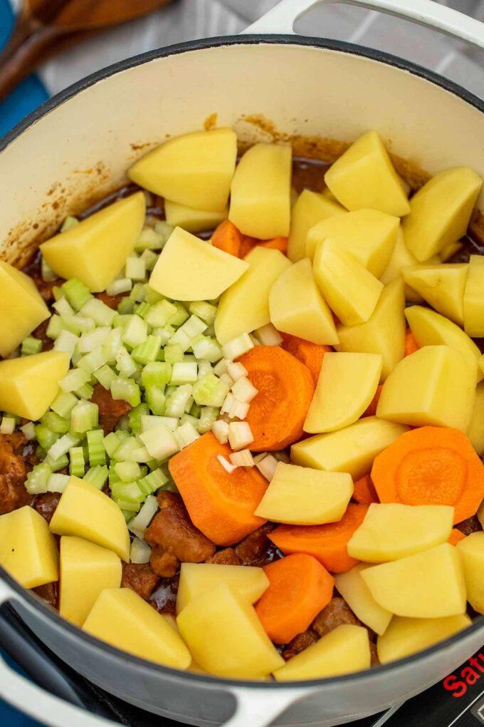 photo of guinness beef stew veggies