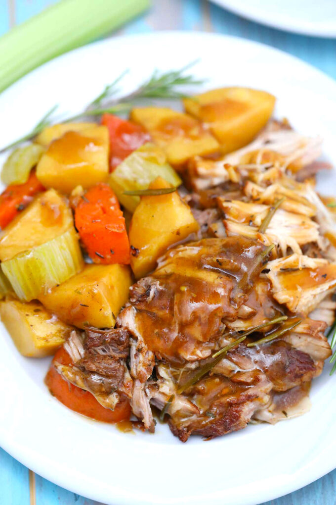 image of shredded pork cooked in the instant pot