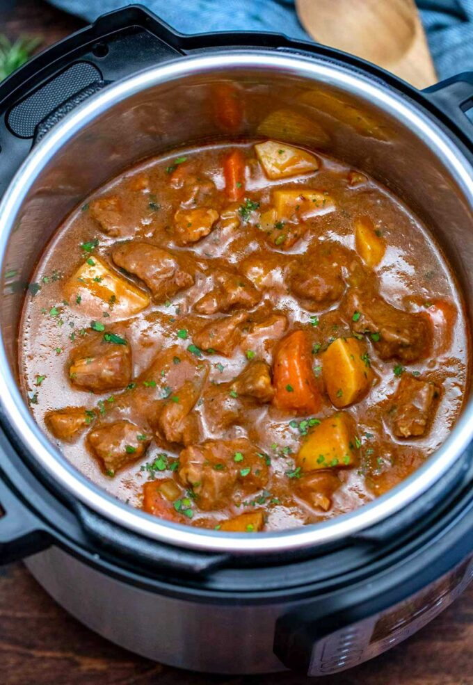 photo of instant pot guinness beef stew in the pressure cooker