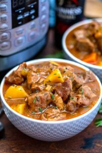 photo of instant pot guinness beef stew in bowls