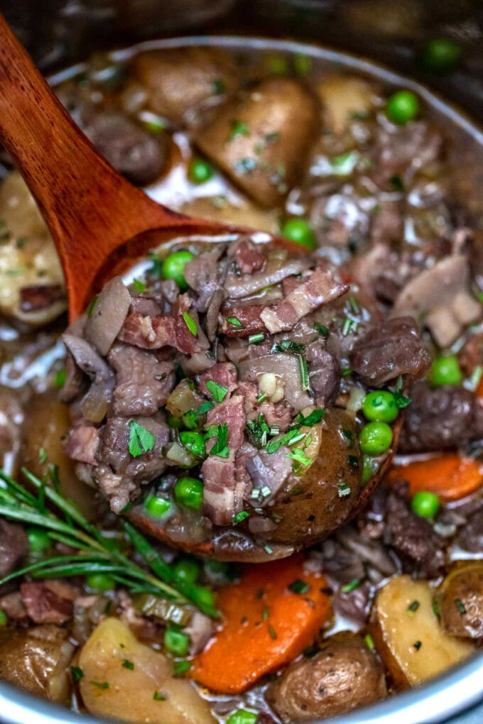 photo of instant pot lamb stew with green peas and rosemary