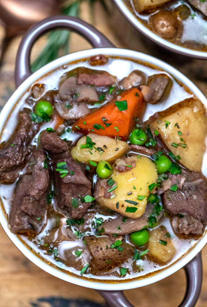 photo of pressure cooker lamb stew with potatoes and carrots