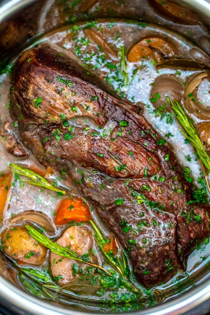 image of pressure cooker red wine beef roast