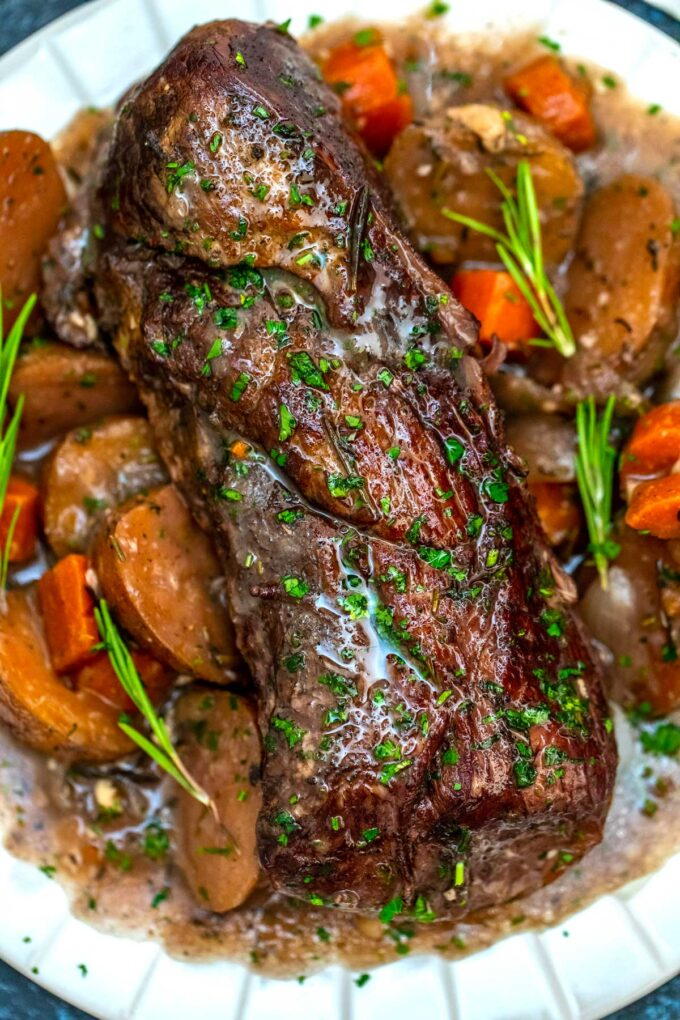 image of instant pot red wine beef roast plated