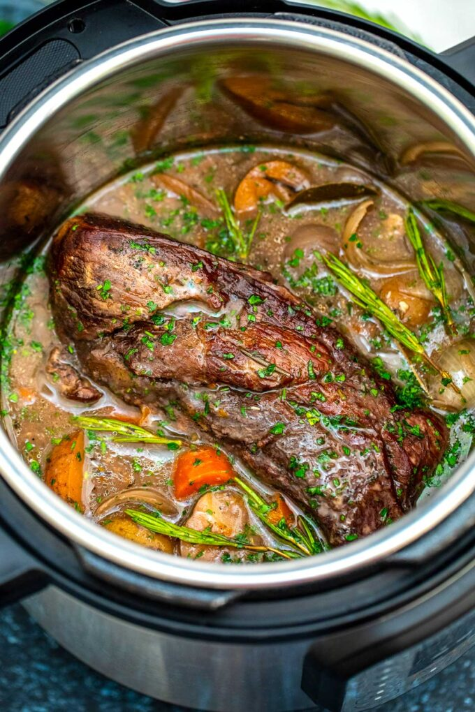 image of instant pot red wine beef roast in the pot
