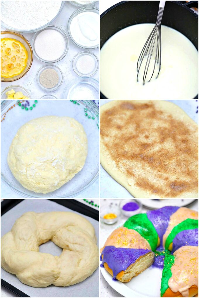 image of Mardi Gras king cake step by step preparation