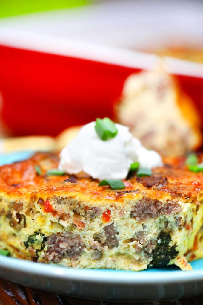 image of sausage breakfast casserole slice close