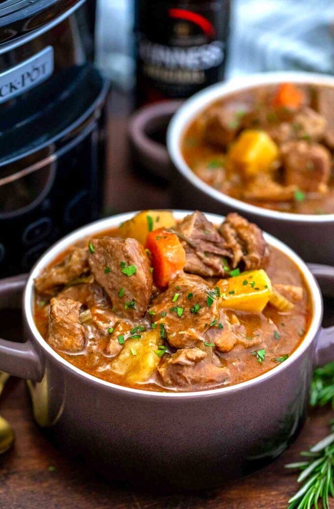image of slow cooker Guinness beef stew bowl