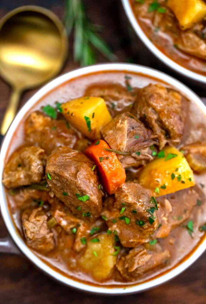 image of slow cooker Guinness beef stew overhead