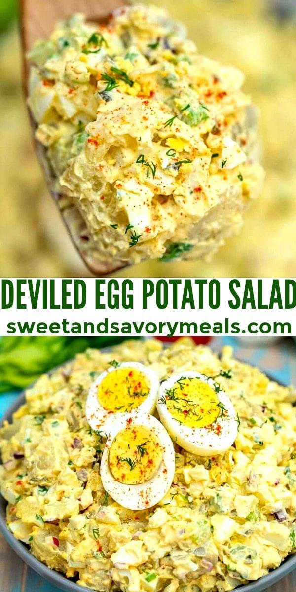 Devilled egg potato salad redy to serve.