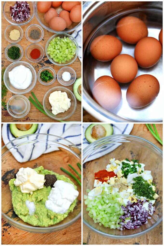 Photo of avocado egg salad ingredients.