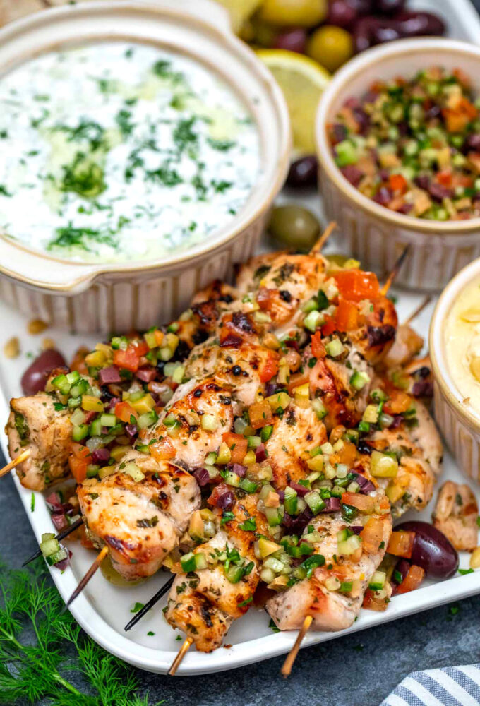 image of chicken souvlaki skewers