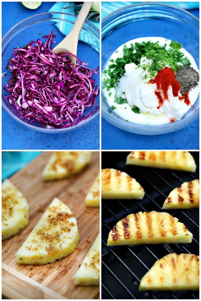Image of coleslaw lime crema grilled pineapple.
