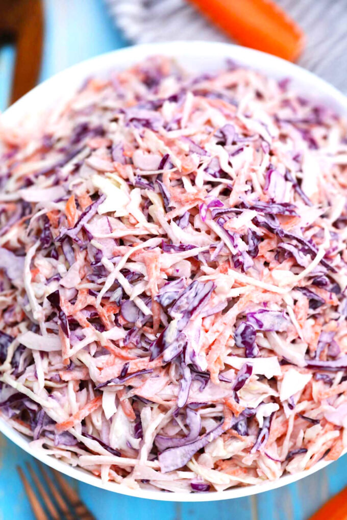 image of coleslaw with green and purple cabbage