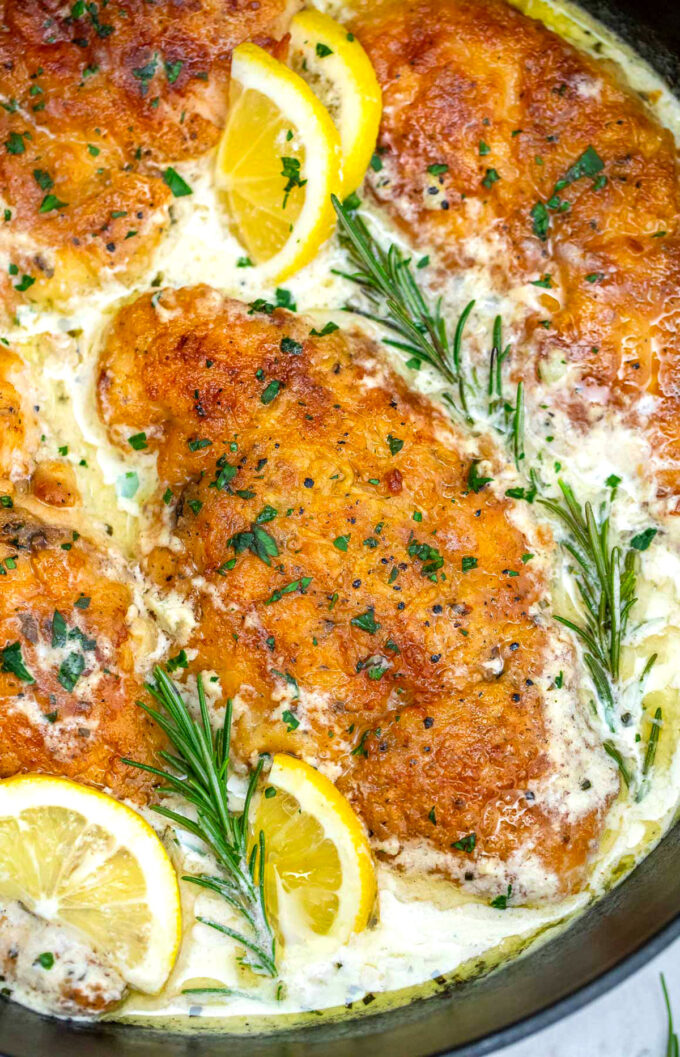 Image of chicken francese fillets in creamy sauce.