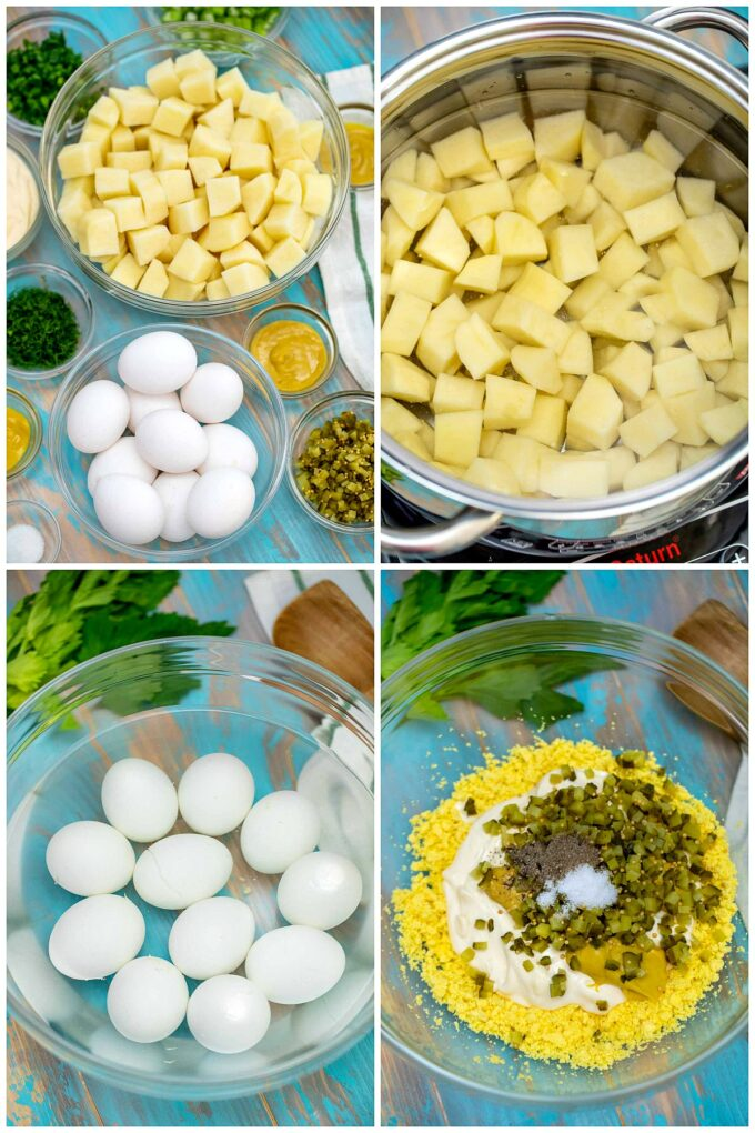 photo of eggs, potatoes and other ingredients for egg potato salad