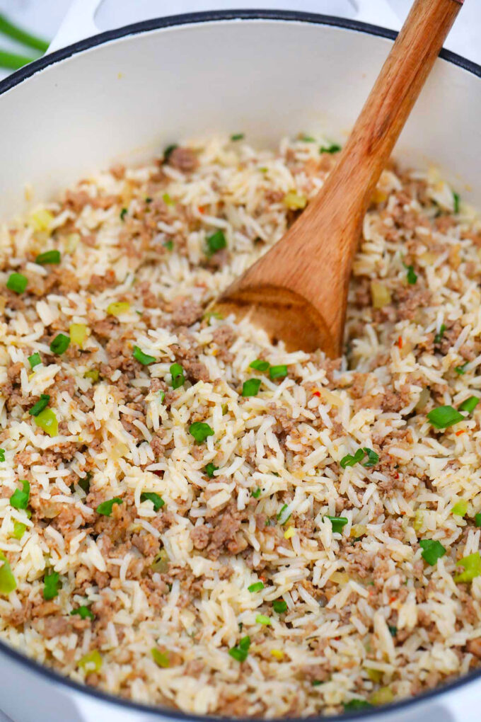 photo of dirty rice in a pot
