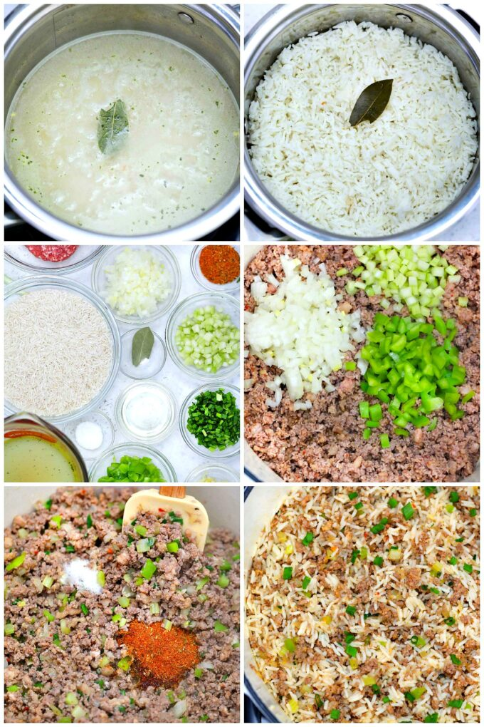 image of ingredients and steps to make dirty rice
