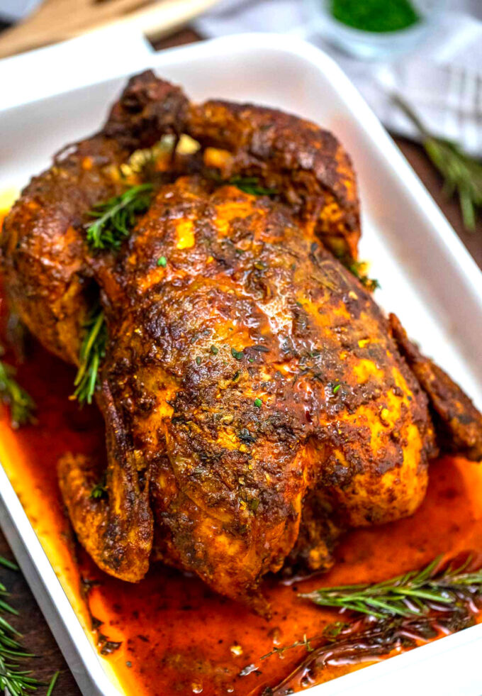 image of garlic herb butter roasted chicken.