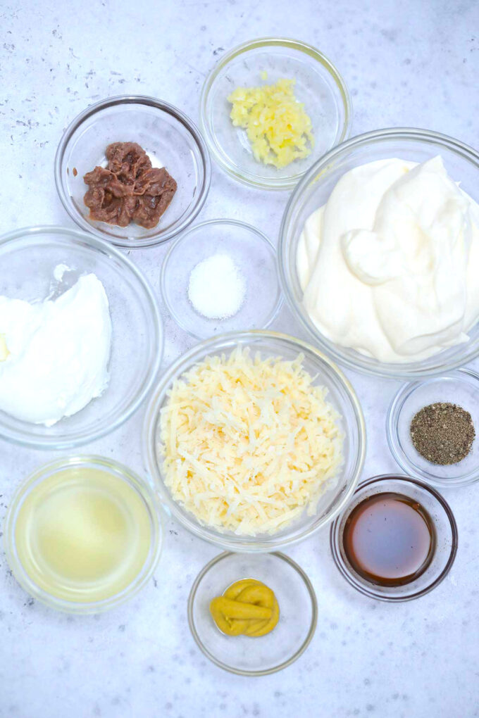 photo of ingredients for homemade caesar dressing recipe