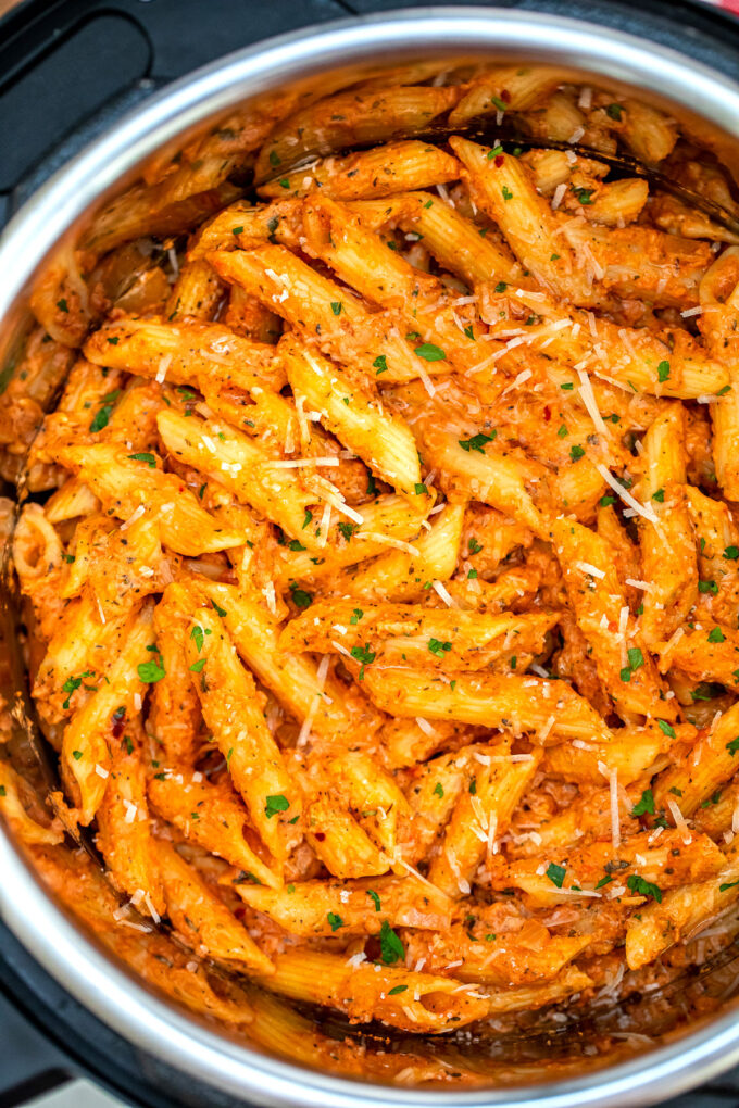 photo of pressure cooker penne alla vodka pasta