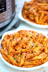 photo of instant pot penne alla vodka pasta on a plate