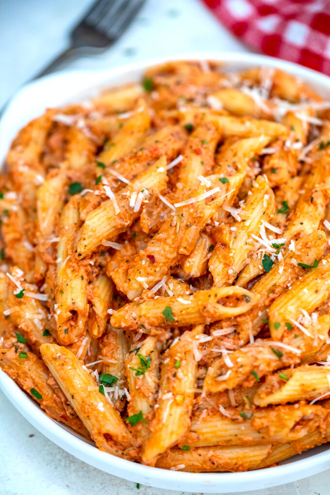 photo of penne alla vodka pasta