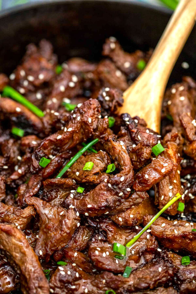Image of Korean BBQ Beef with green onions.