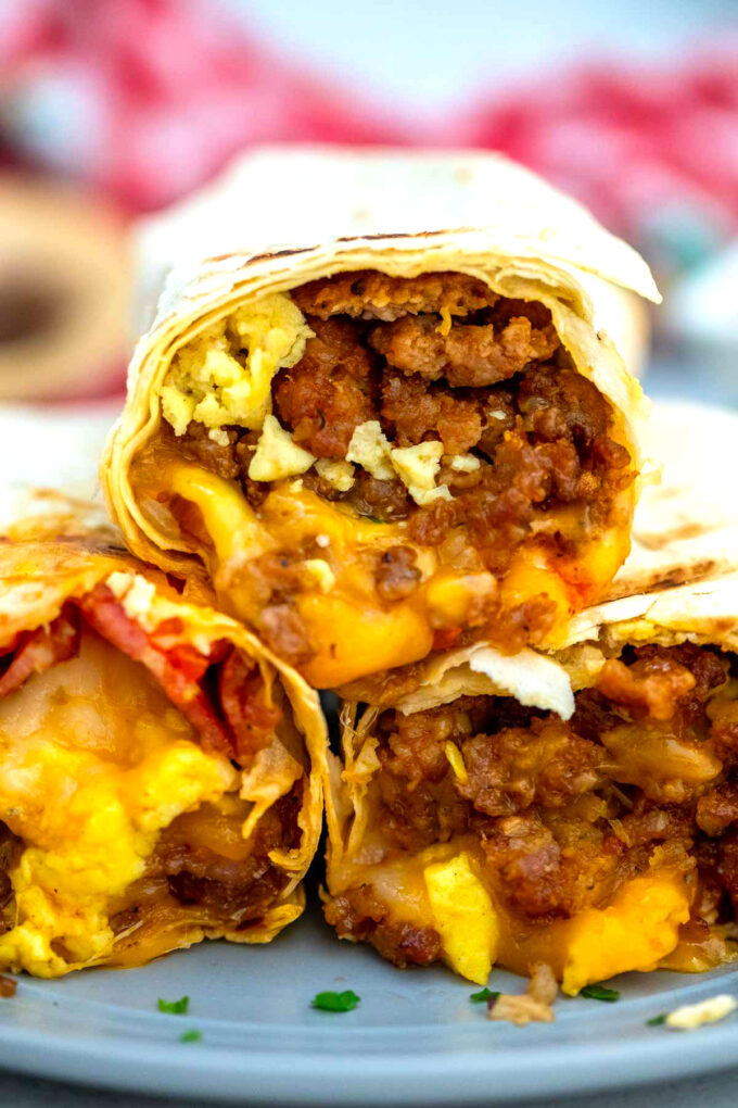 Image of sausage egg and cheese breakfast burrito.