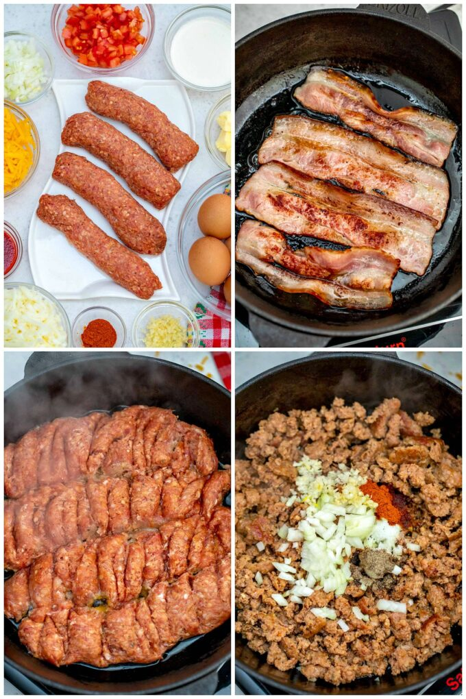 Image of sausage bacon and breakfast burrito ingredients.