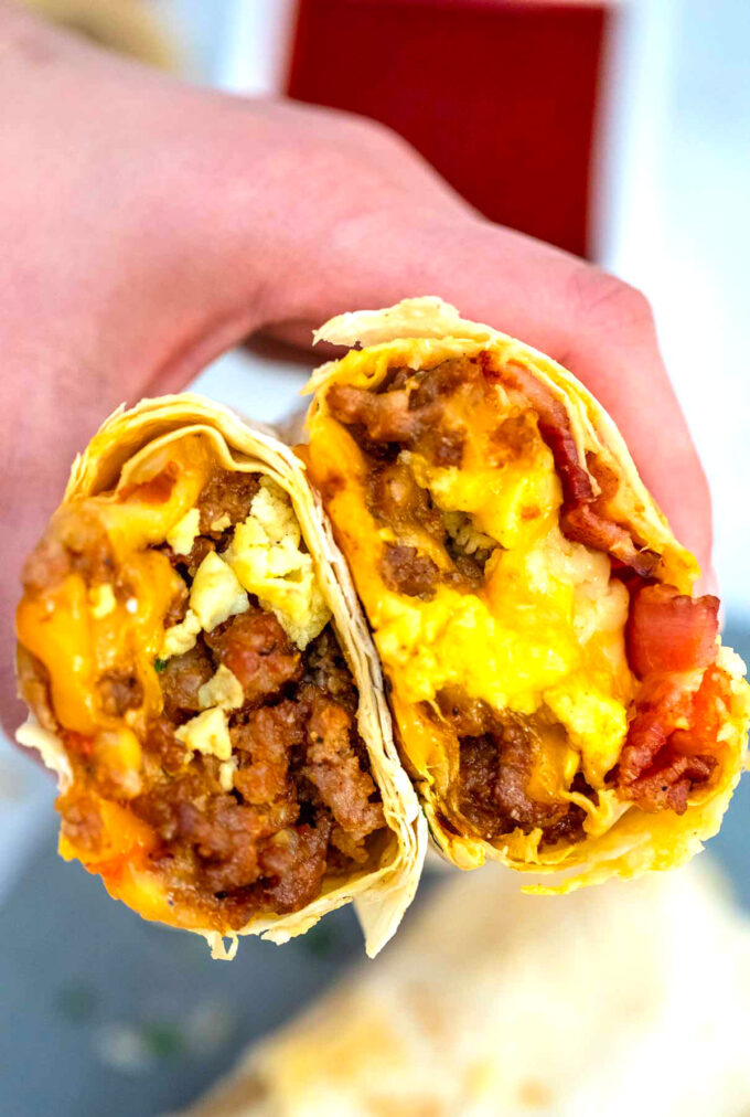 Image of sausage egg and cheese breakfast burrito recipe.