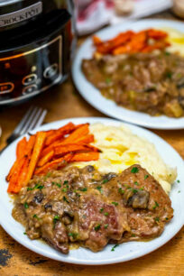 photo of slow cooker Swiss steak with mashed potatoes