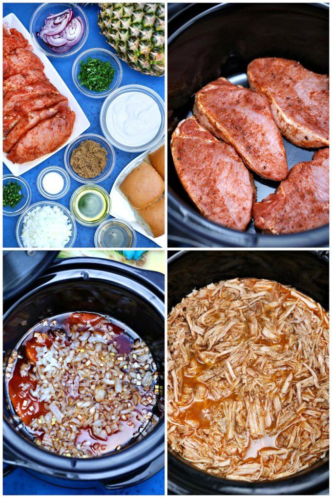 Photo of slow cooker pork carnitas ingredients.