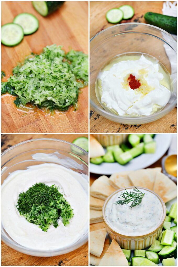 image of ingredients and steps on how to make tzatziki sauce