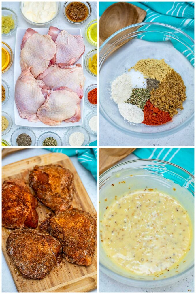 Picture of baked chicken thighs ingredients.