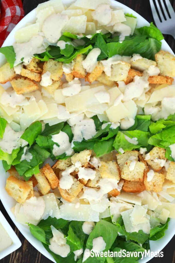 Caesar salad on a serving plate