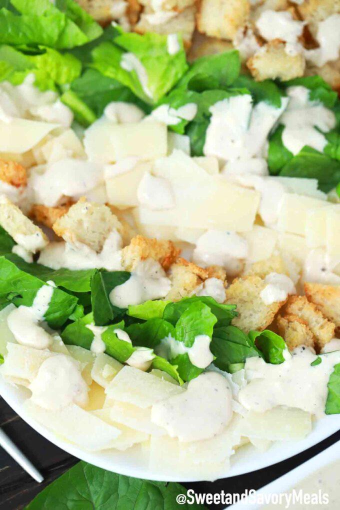 Caesar salad with caesar dressing