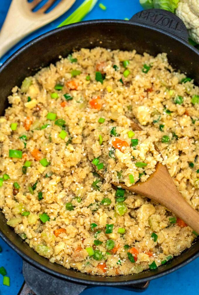 Photo of cauliflower fried rice.