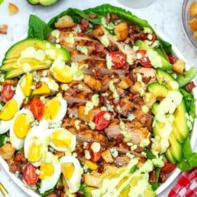 Image of homemade Cobb salad with chicken eggs avocado.