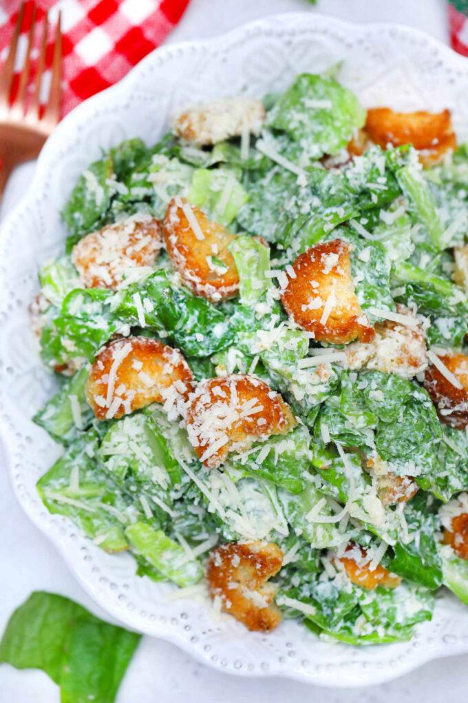 Picture of classic Caesar salad.