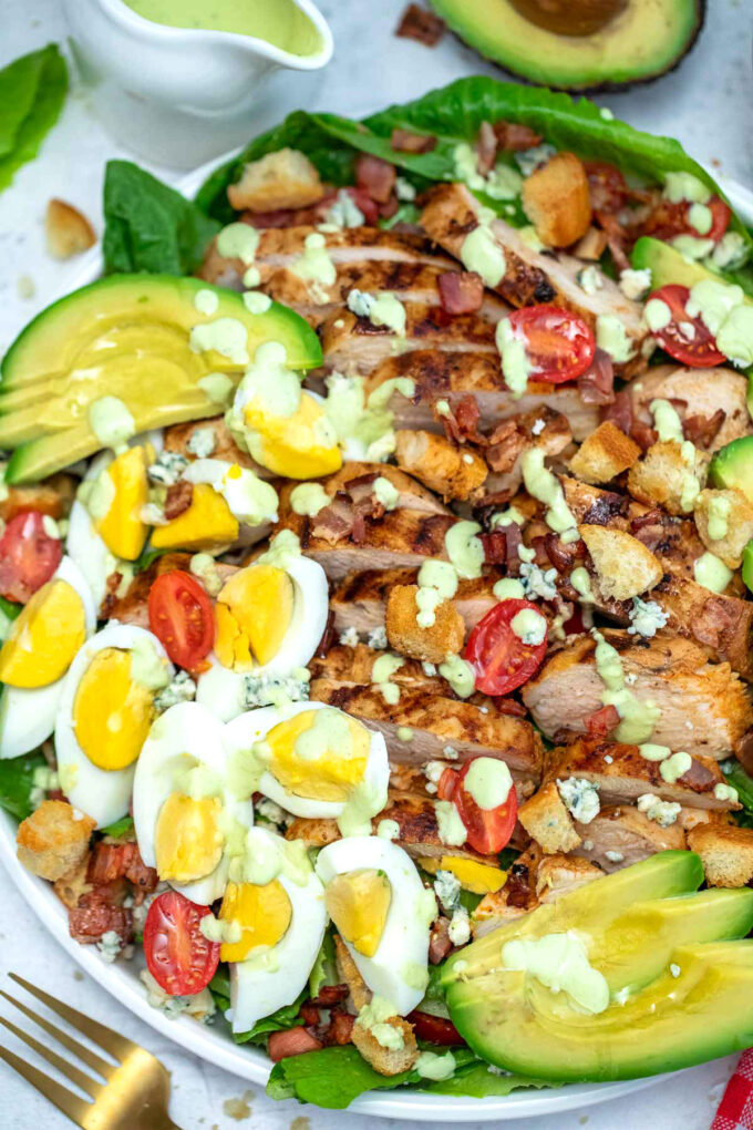 Photo of easy Cobb salad with grilled chicken.