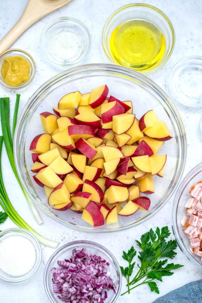 Image of German potato salad ingredients.