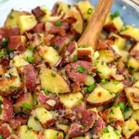 Image of German potato salad with bacon.